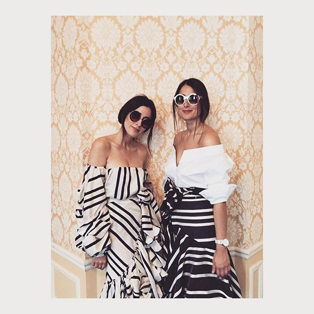 Beauties @sylviahaghjoo @juliahaghjoo in our Spring/Summer16' FridaStripeTop &DuncanPareoSkirt /JO-MarchShirtDress &MontesquiePareoSkirt ...#Preo @modaoperandi #SS16 #PFW