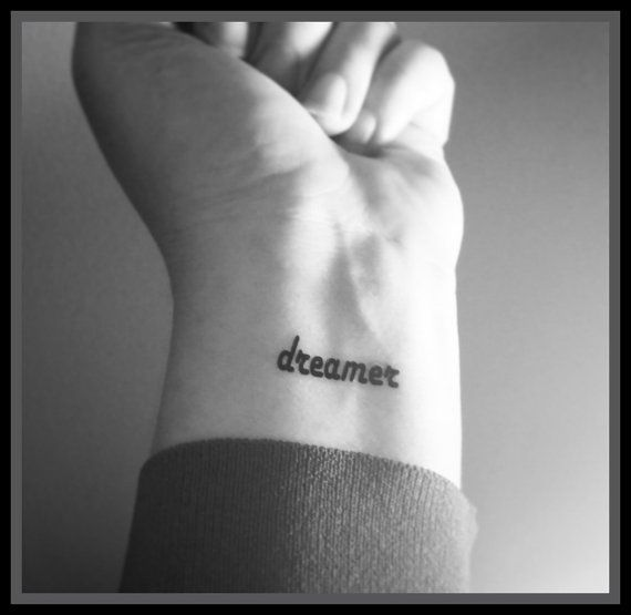 dreamer temporary tattoo fake tattoo word by SharonHArtDesigns