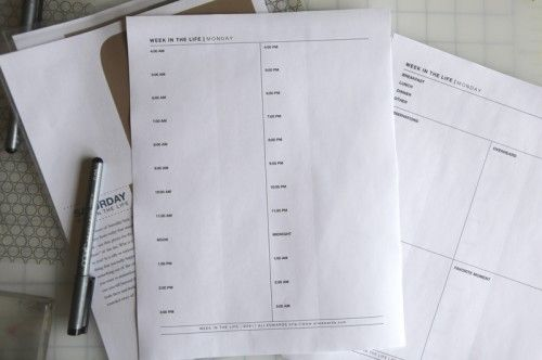 Free printables for documenting A Week (or any day) In The Life.