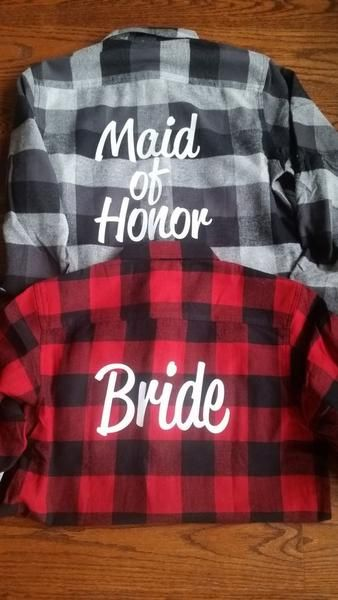 custom wedding bridal flannel outfit ideas for winter weddings! Matching bridesmaid outfits... ideas for your winter wedding. winter wedding ideas