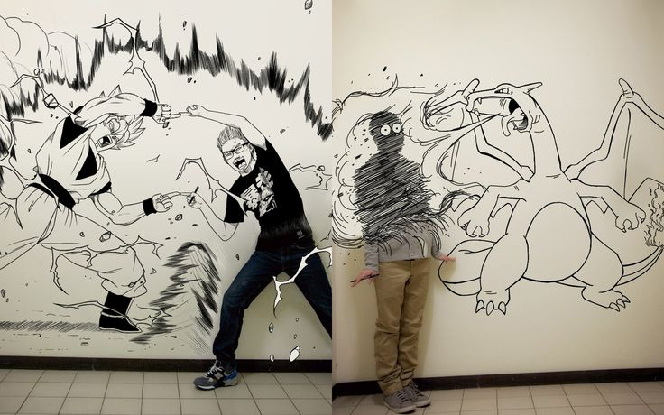 Creative self portrait drawings by gaikuo art for Cool wall art drawings