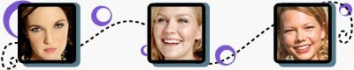 Drew Barrymore, Kirsten Dunst, and Michelle Williams have round faces | Hair, makeup and glasses tips for round faces.