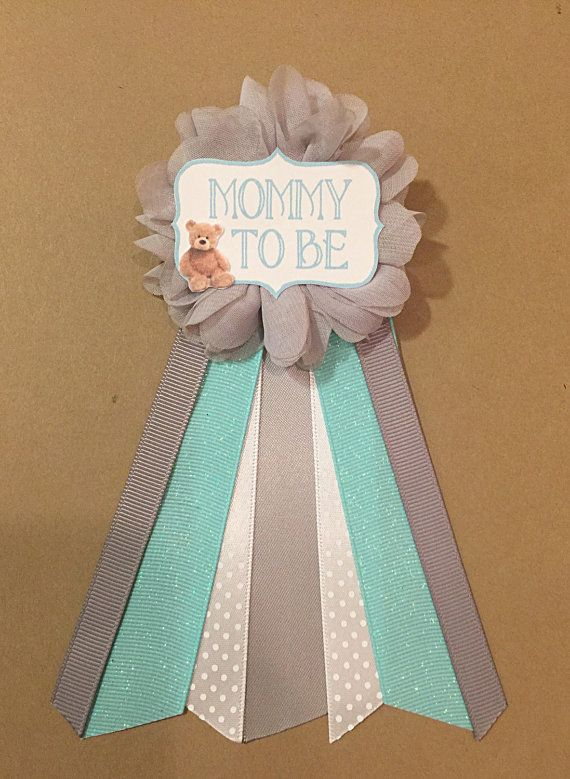 Teal Aqua Grey Teddy Bear Baby Shower Mommy-to-be by afalasca