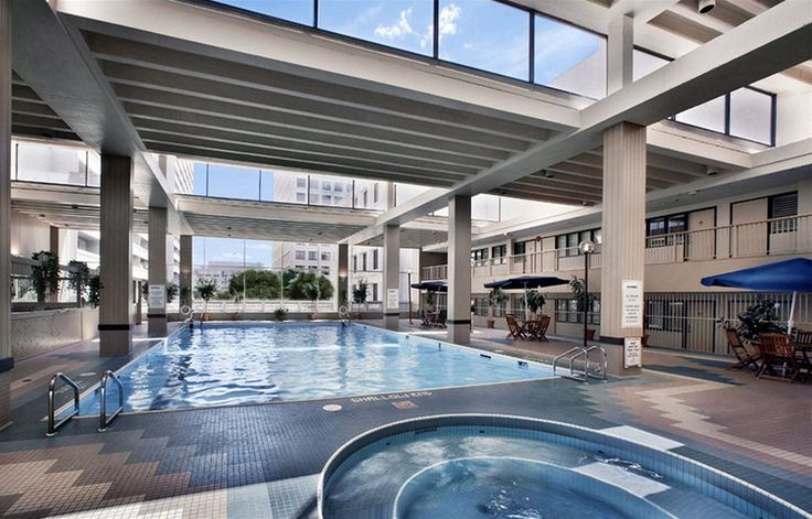 The top floor has two pools, an indoor with a whirlpool and an outdoor with views of the city
