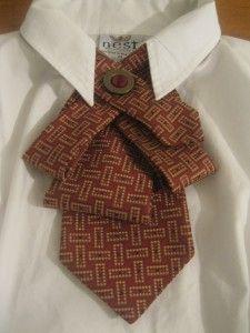 Red, bronze womens necktie upcycled from a men's preloved necktie