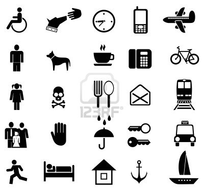 Set of vector pictograms. Black icons on white. Simple pictures of people and objects.  Stock Photo