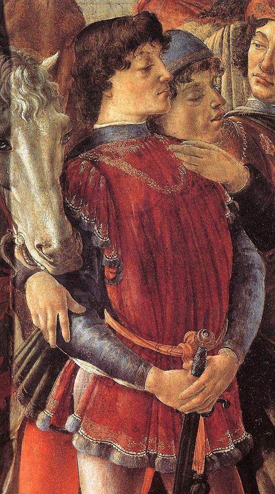 BOTTICELLI - Adorazione dei Magi, dettaglio - tempera su tavola - 1475 circa - Galleria degli Uffizi a Firenze.