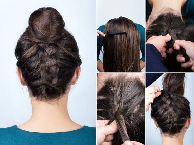 Beautiful Wedding Hairstyle - High Bun with Inverted Braid - T1hair - #weddinghairstyle #weddinghair #updo #longhair #weddingupdo #braids