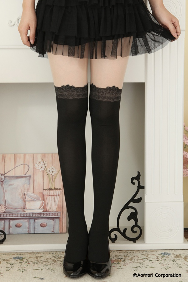Lace knee high tights