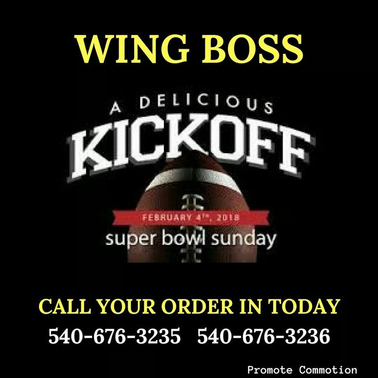 Wing Boss  3621 Blue Hills Village Dr NE Roanoke, Virginia Time to get ready for the Super Bowl Contact Wing Boss for your big party.  http://ow.ly/Kpht30hS7El