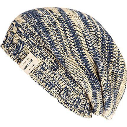 ecru and blue slouch beanie hat - hats - accessories - men - River Island