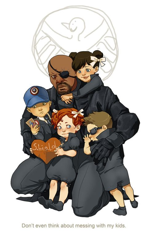 S.H.I.E.L.D kids with Nick Fury :D  Maria Hill, Phil Coulson, Black Widow, and Hawkeye!