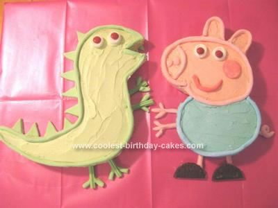 Homemade George and Mr Dinosaur Cakes: This cake was made from a basic from scratch buttercake recipe. I baked 2 large lamington tin cakes and used one for each character. I got the templates