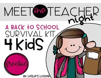 Give your students a little survival kit when they come to Meet the Teacher night. This product includes a little letter to put in a bag of goodies. The letter tells students why you have chosen to give them a: *sticker *eraser *rubber band *bookmark *star *lifesaver