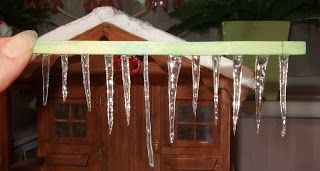 Tutorial for making 1/12th icicles for homemade Putz Christmas houses.