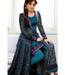 Buy Grey georgette embroidered semi stitiched salwar with dupatta party-wear-salwar-kameez online