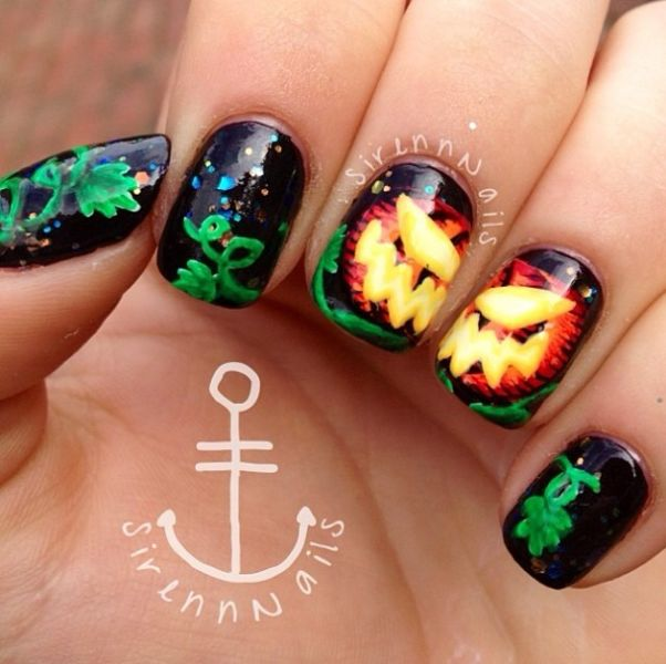 Jack-o\'-lantern Pumpkin Halloween Nails by IG@sirennnails ...