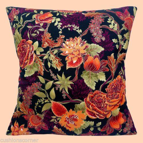 Japones-Asia-Flores-marron-de-oxido-negro-oro-metalico-de-16-034-Almohada-cojin