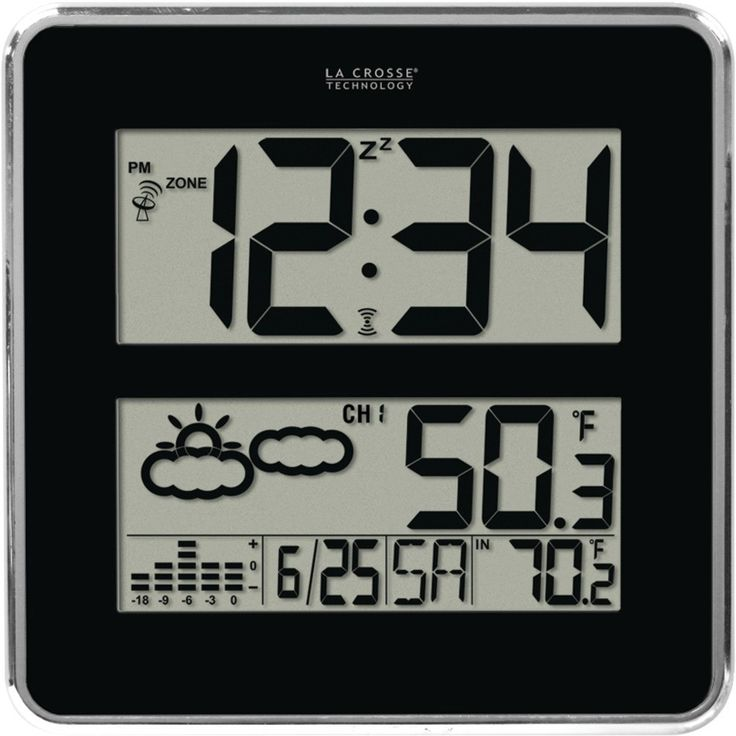 La Crosse Technology - Large-Digit Atomic Clock with In/Out Temp & Forecast