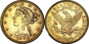 Liberty Head Half Eagle $5 Gold Coin Values With Motto