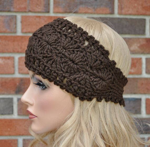 Crochet Headwrap Womens Crochet Headband in Chocolate от Cobanul