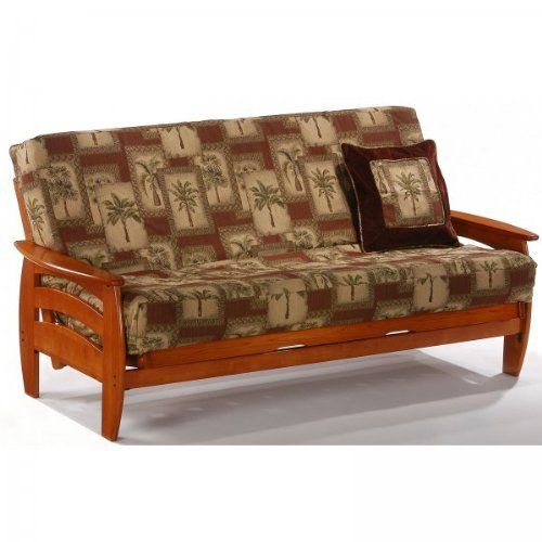 """Corona Full Futon Frame (Teak) (33.25""""H x 83.875""""W x 37""""D) by Night and Day Furniture. $530.00. This item ships common carrier.. Stylish Look. Size: 33.25""""H x 83.875""""W x 37""""D. Color: Teak. Sturdy Construction. The Teak Finished Corona Full Futon Frame takes a classic wood futon design and updates it with beautiful curves for an enhanced, modern look. This full size futon is made of the finest plantation grown rubberwood with traditional good sense woodworkin..."""