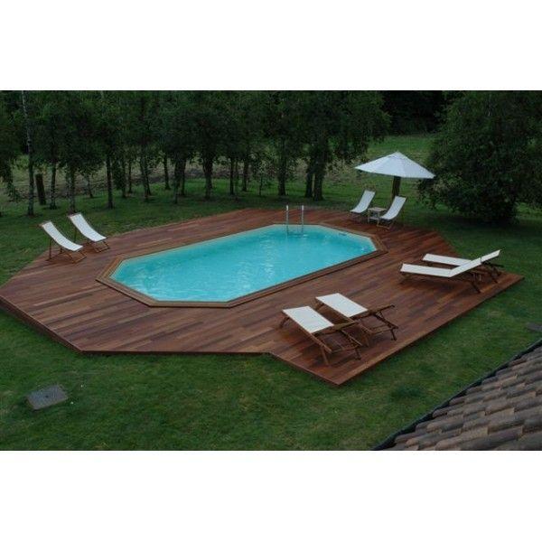 Piscine bois ocea 610x400x130 liner bleu piscine - Piscine hors sol tole ...