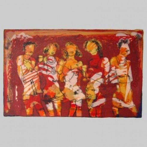 Sjer Jacobs zeefdruk vijf vrouwen - Kunst