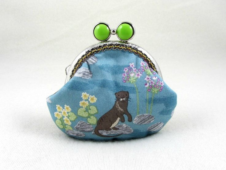Little otter coin purse, kiss lock purse, cotton coin purse, for her, animal fabric change purse,  frame coin pouch, by JRsbags on Etsy