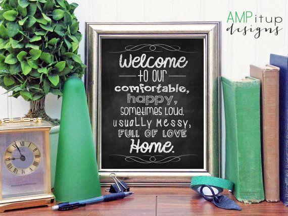 I wanted a Welcome to our Home sign for my house with some character. This describes my home perfectly. Maybe it does yours too! Its just