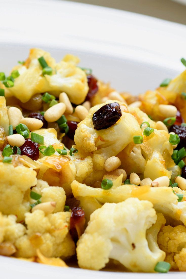 NYT Cooking: Give commonplace cauliflower an upgrade and it becomes holiday fare. Take a classic Venetian approach by using a mixture of sweet spices. Caramelized onions, saffron and cinnamon build the fragrant foundation, along with fennel and coriander seeds. Currants, golden raisins and pine nuts add complexity.