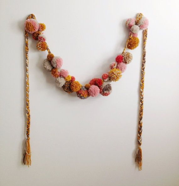 Marigold and Rose Petal Harvest, Pom-pom yarn garland, braided, Autumnal and Christmas garland, mustard ocher pinks and whites