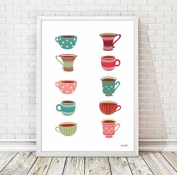 Lámina tazas  lámina cocina cocina café te por Ilustracionymas