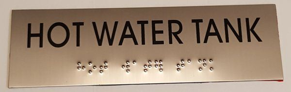 HOT WATER TANK SIGN - STAINLESS STEEL (3X9.75)