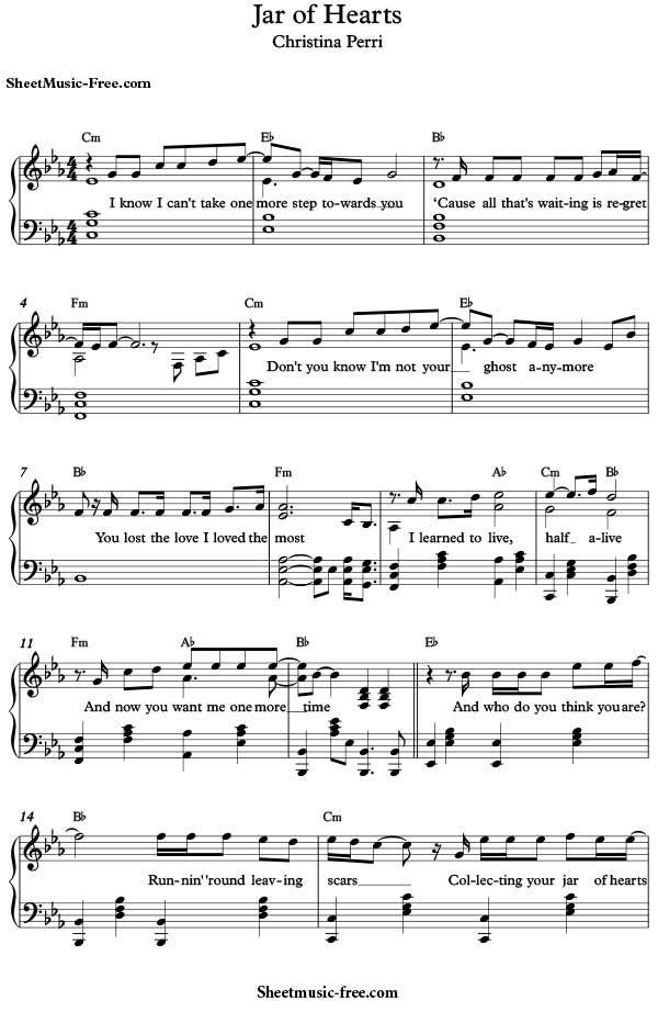 Jar Of Hearts Sheet Music Christina Perri Download Jar Of Hearts Piano Sheet Music Free PDF Download