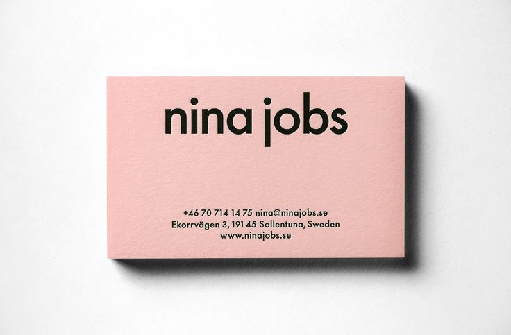 Nina Jobs brand identity and business card designed by BVD.