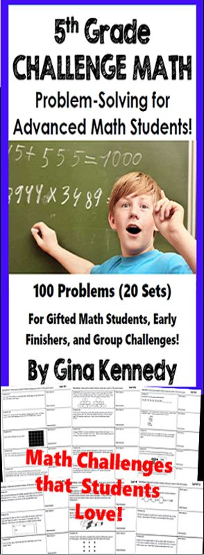 Twenty weeks of 5th grade math challenge problems! Twenty sets of challenging no-prep 5th Grade enrichment math problems that will challenge your most advanced math learners. The problems are great for early finishers, gifted students, or for whole group math problem solving challenges.   A great way to promote critical thinking problem solving skills and challenge all of your math learners.$