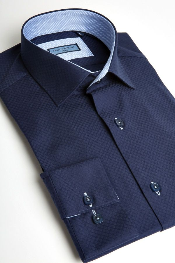 Men Shirt Elegent Franck Michel Collection Florence Navy Jacquard - Chemises Franck Michel - Boutique