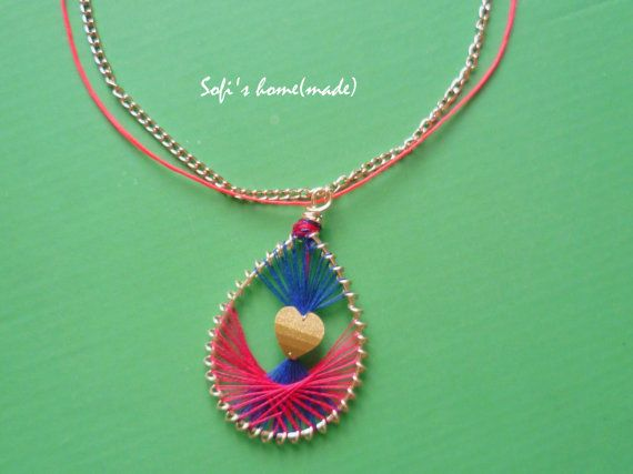 Handmade pendant peruvian style necklace with a heart bead plus free gift