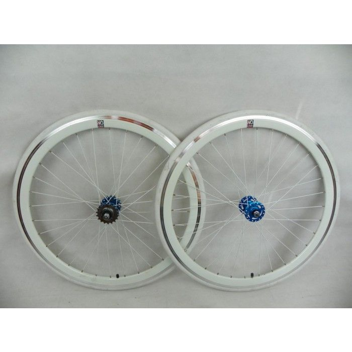 No Logo 40mm White w/Blue Hubs Fixe/Track/Fixed Gear Wheelset