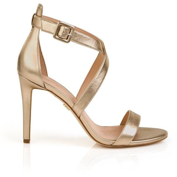 Kurt Geiger London Knightsbridge Cross Strap Heeled Sandals ($180) ❤ liked on Polyvore featuring shoes, sandals, gold, kurt geiger shoes, gold shoes, heeled sandals, cross strap shoes and cross strap sandals
