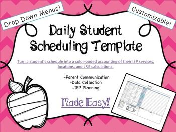 special education student schedule template special education