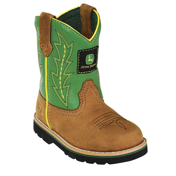 John Deere Kids' Wellington Cowboy Boot Toddler Boots (Green) - 4.5 M