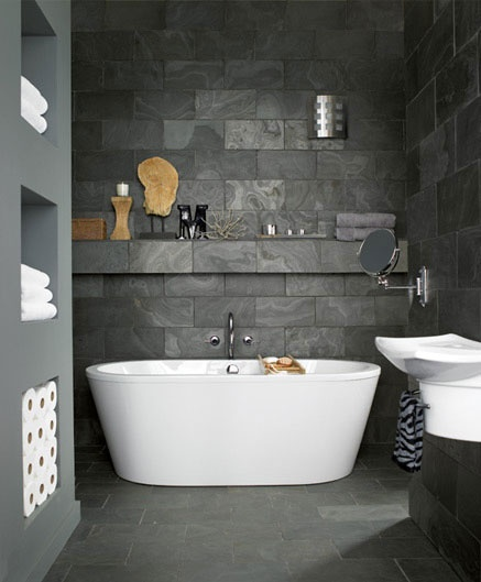 Garderoben Rollständer Ikea ~ Love everything! Dark Tile against white tub, invisible shelf, clean