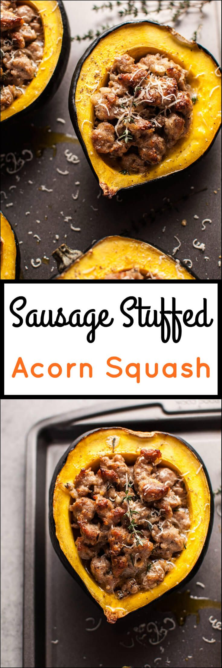 Sausage and parmesan stuffed acorn squash makes a cozy and delicious cold weather meal! | www.saltandlavender.com