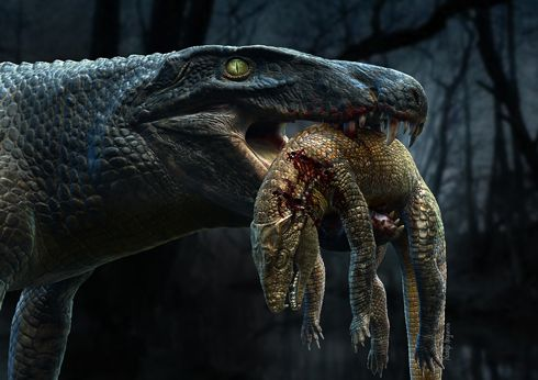 """Aplestosuchus sordidus """"gluttonous, filthy crocodile"""" of the Late Cretaceous.  Fossil evidence shows one large crocodile eating another crocodile."""