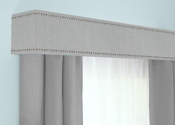 Custom Cornice Board Pelmet Box Window Treatment in Storm Grey with Nailhead Trim - Custom Curtain Topper in Modern Gray Fabric Nail Head