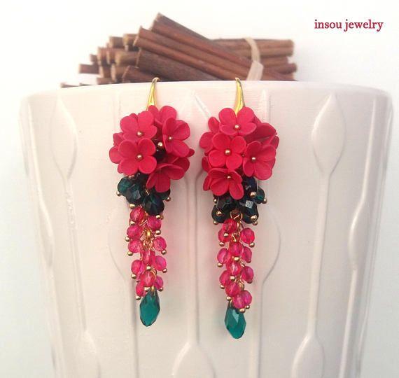Christmas EarringsMagenta Earrings Flower Earrings Fashion