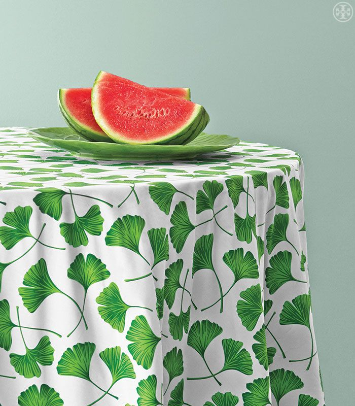 The distinct green of lettuce ware. Dodie Thayer for Tory Burch platter and Tory Burch table linen.