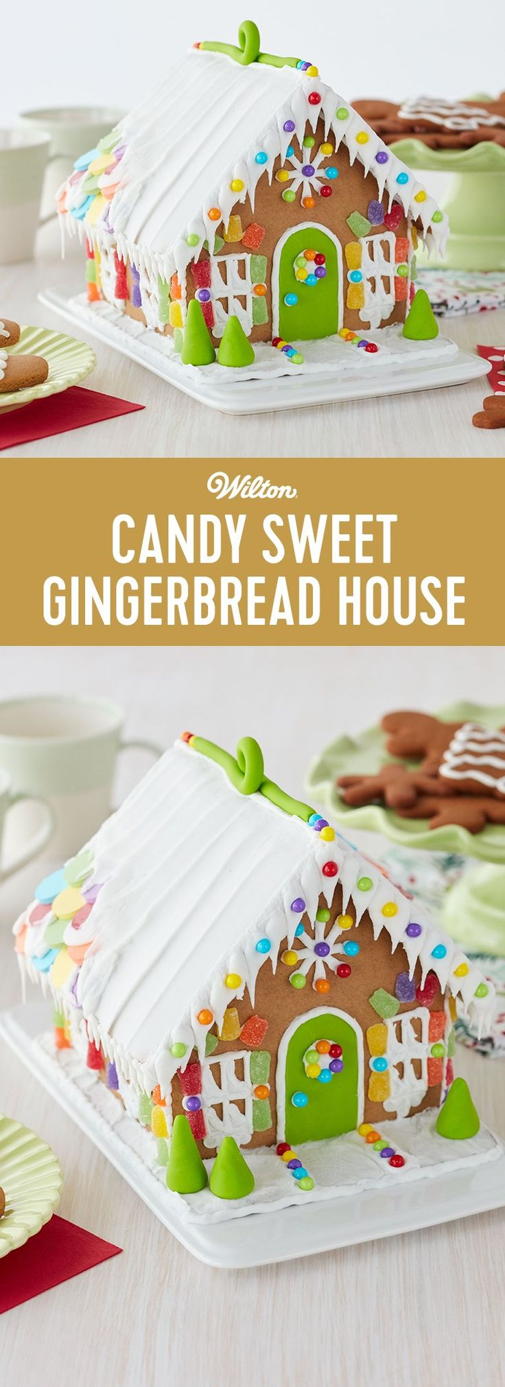 Candy Sweet Gingerbread House - Trimmed with lots of colorful candy and bright green fondant, this Gingerbread House Kit has the designs that add excitement to your Christmas celebrations. After all, everyone loves all that candy! Making a candy sweet gingerbread house is great fun for kids and adults alike!